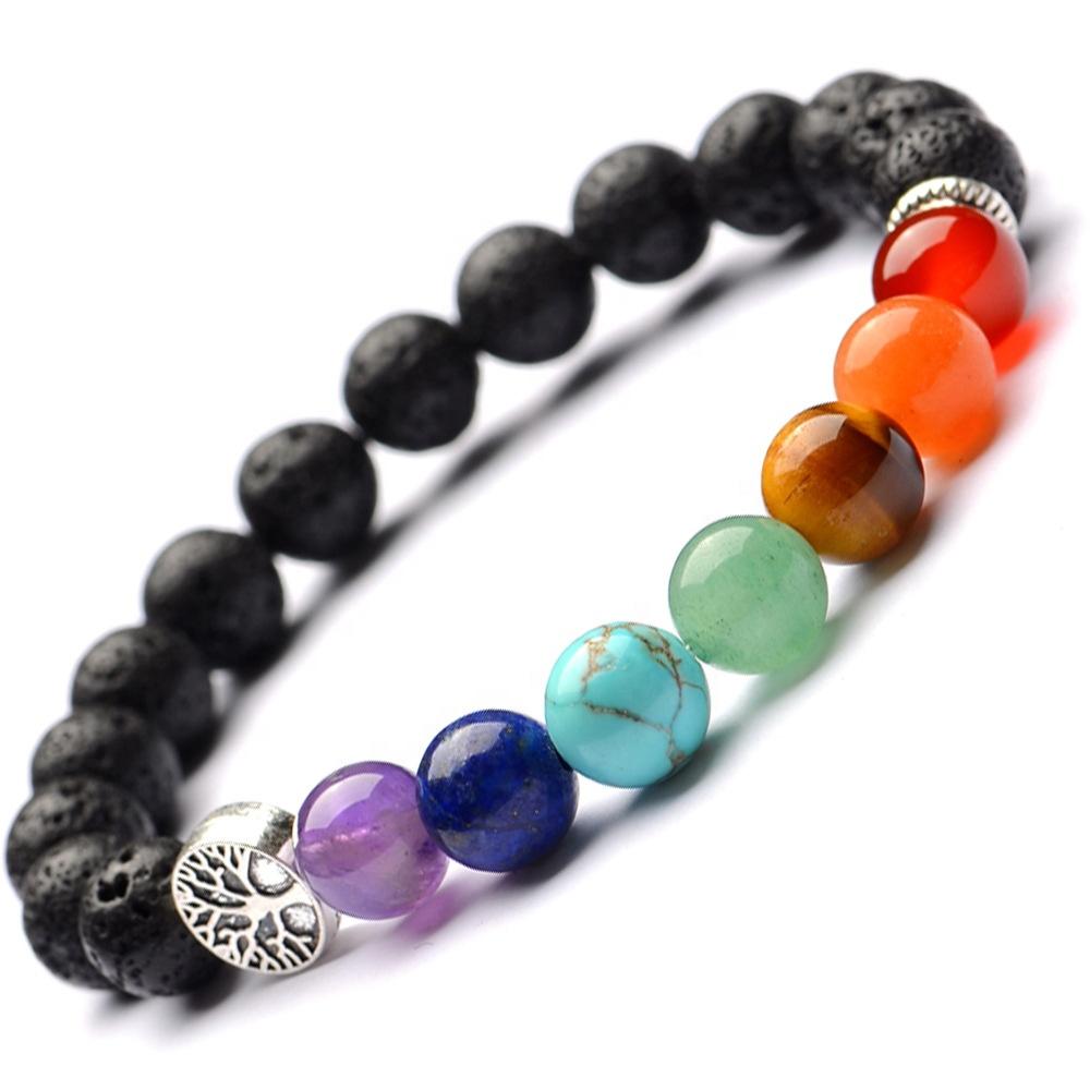 Hot sale Elastic Healing Yoga energy Balance Tree of life Charm 7 Natural Stone Chakra Bracelet for women