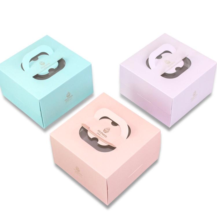 Taşınabilir doğum günü pastası kutusu 4 6 8 inç ev peynir köpük küçük pasta krem ambalaj kutusu alt braket ile
