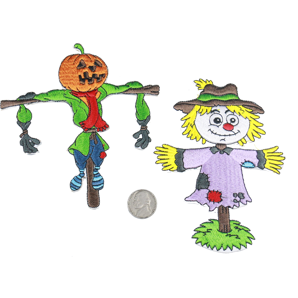 Scarecrow und kürbis kopf scarecrow kombination stickerei patch 3d diy cartoon mode kreative patches