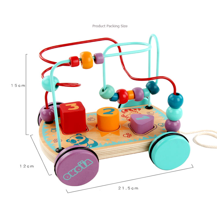 Multifunction Montessori Educational Round Bead Drag Car Toys Kids Wooden Bead Maze