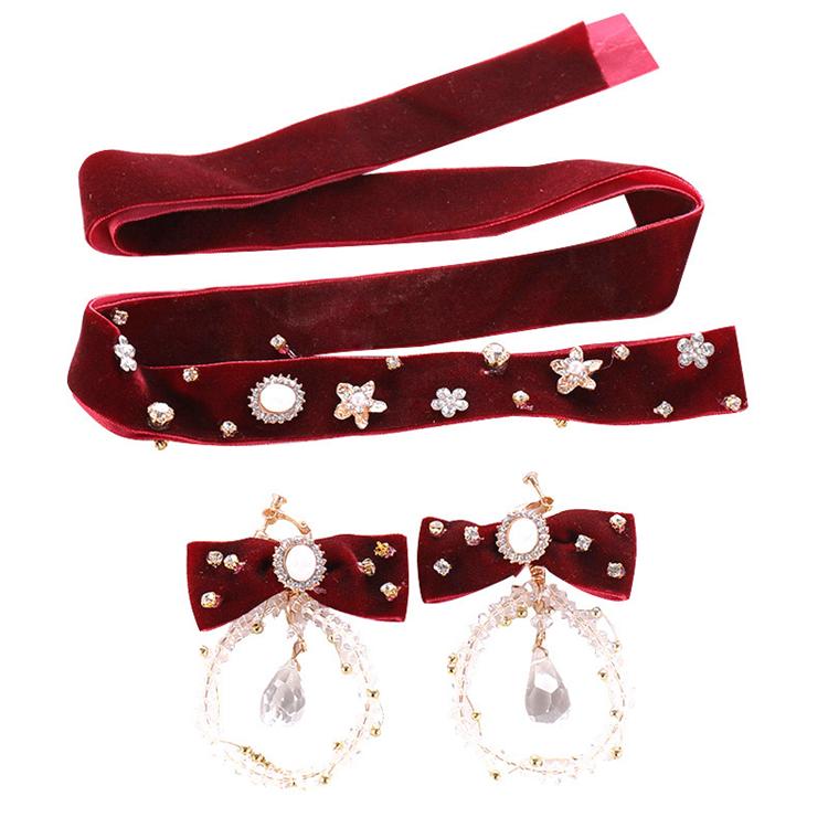 Korean Velvet Hair Bands Red Bridal Headdress Earring Set Flower Toasting Headdress Crystal Hair Accessories