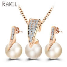 RAKOL 금 웨딩 necklace sets <span class=keywords><strong>두바이</strong></span> 펄 jewelry set 웨딩 jewellery designs AS011