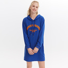Wholesale Blue Hooded Sweats Women Sweatshirt Dress Women Polo Hoodie