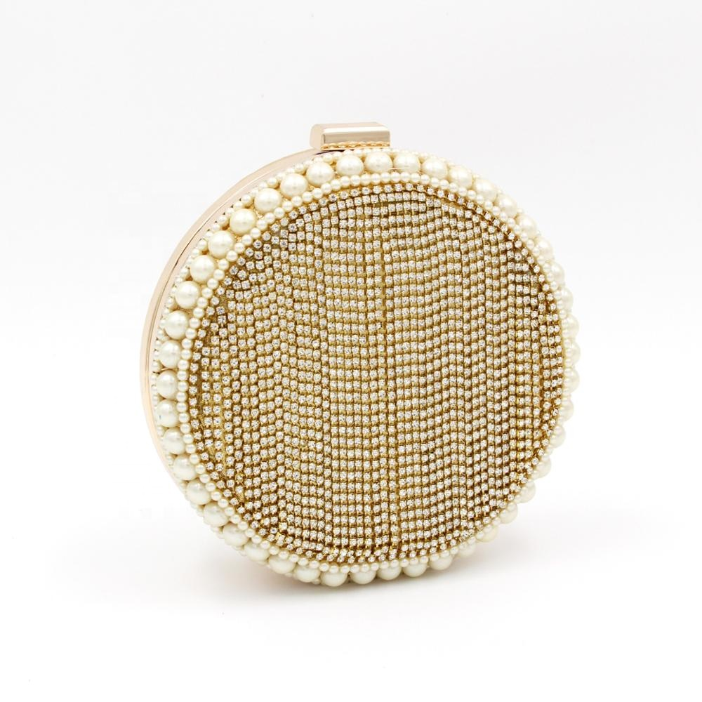 Custom-made crystal tassel pearl gold round <strong>clutch</strong> ladies special <strong>leather</strong> round shaped evening bags beaded rhinestone crystal