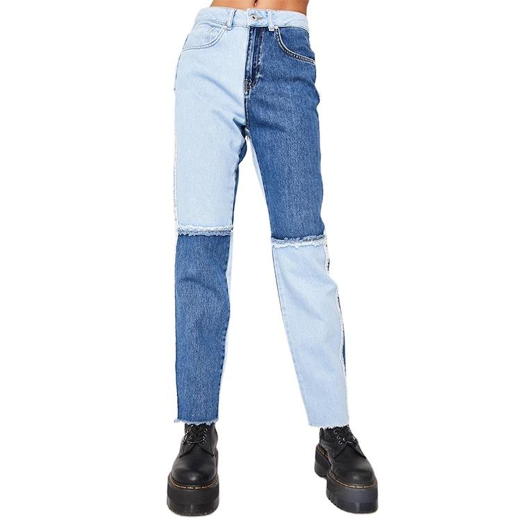 Trendy Vintage yıkama yüksek bel bölünmüş Hem kadınlar Casual düz bacak kot kot pantolon