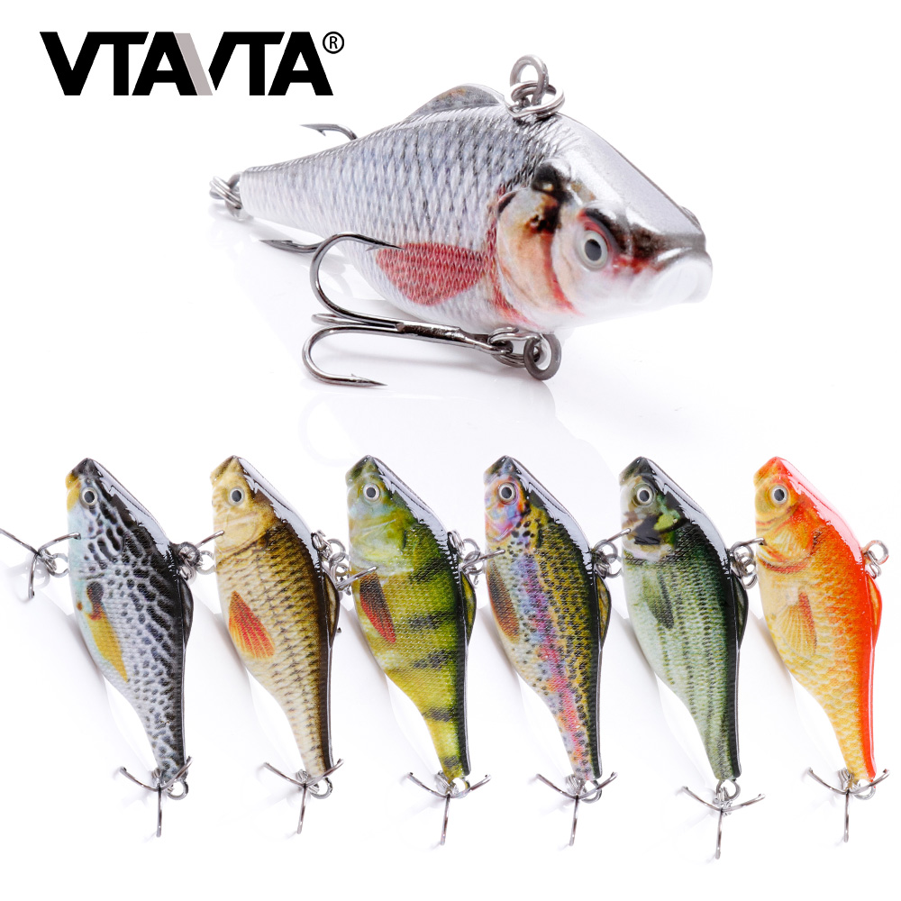 VTAVTA 12.5g Realistic VIB Fishing Lures Crankbait Fishing Wobbler Minnow Lures Steep Brush For Bass Trout Freshwater