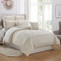 Fashion design linen look microfiber embroidered hotel bedroom duvet bed sheet set