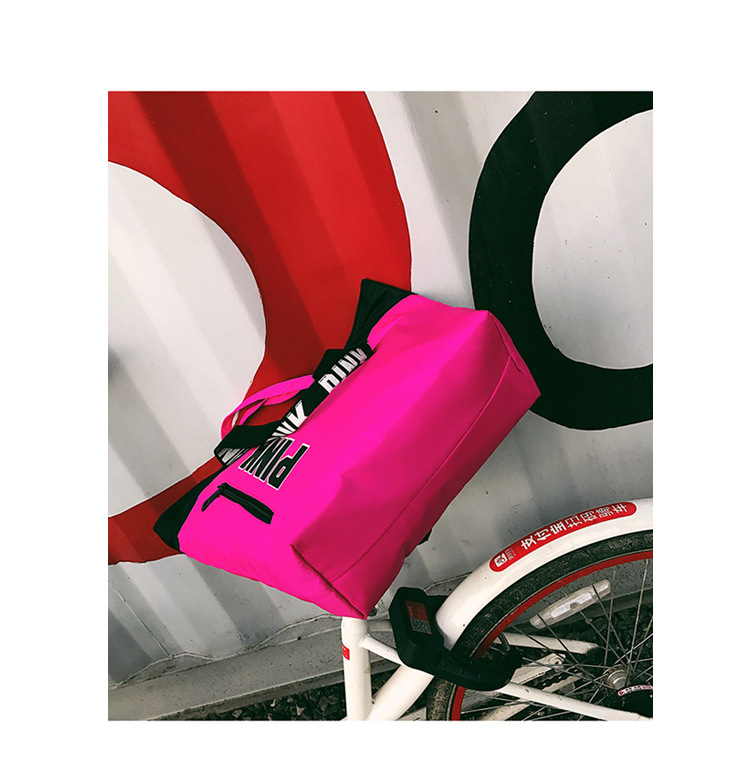 product-Osgoodway-Osgoodway2 Fashion Pink Hand Bag Shopping Bags Waterproof Nylon Leisure Tote Gym S-2
