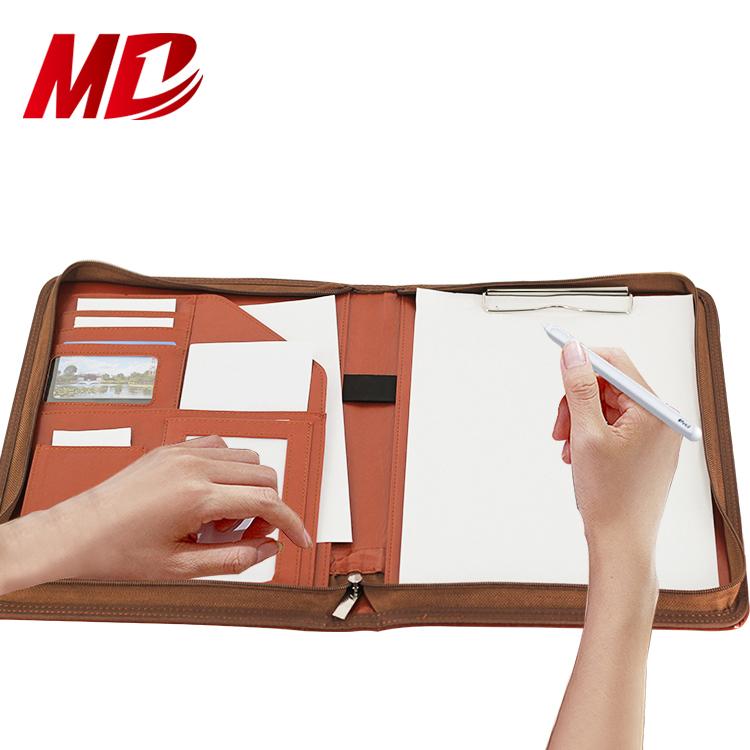 Brown Professional PU Leather Folder Padfolio File Folder Holder