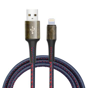 3.3ft/1m High Speed 8Pin Charger Cable Lead Denim USB Syncing Data Fast Charging Cable for iPhone