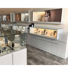 High End Round Glass Display Cabinet Jewelry Display Units Mirror Jewelry Cabinet Gold Store Fixtures