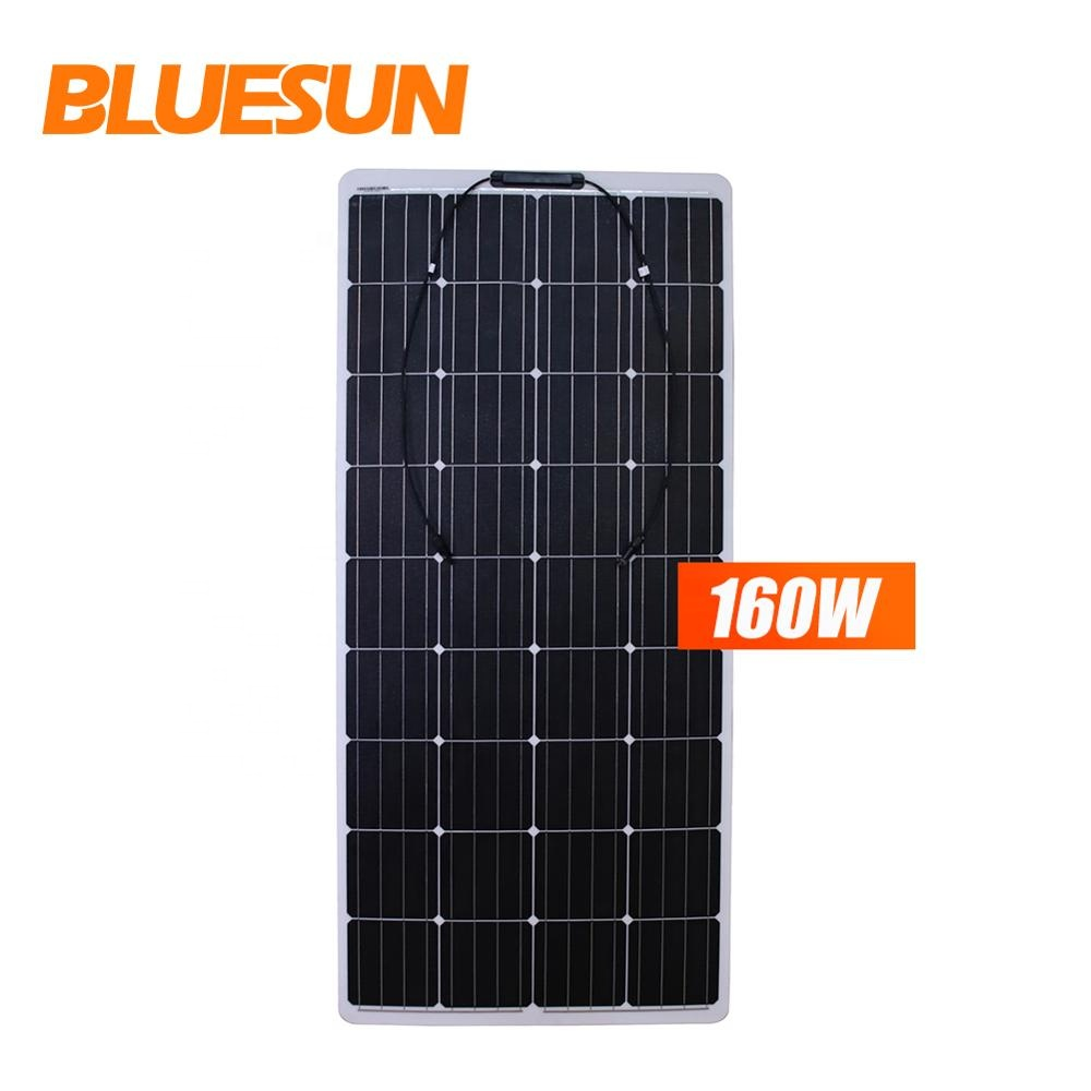 BLUESUN semi flexible 24v solar panel 50 w 80w 100w 150 watt 160w panels 200w 300w paneles solares flexible für auto oder boot