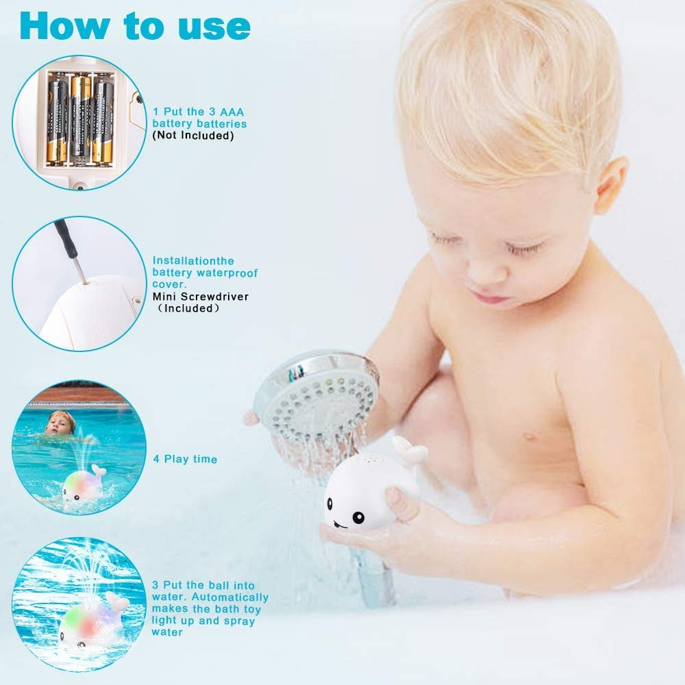 Baby LED Light Up Bath Toys Water Sprinkler, Toddlers Water Spray Whale Bathtub Toys