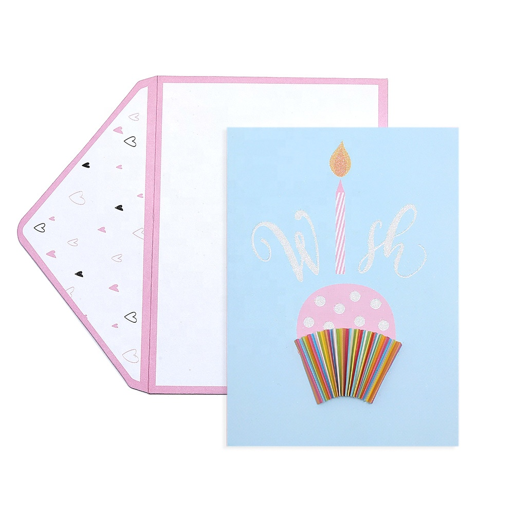 Handmade Custom Funny Happy Birthday Cards Colorful Glitter Greeting Cards with Envelopes
