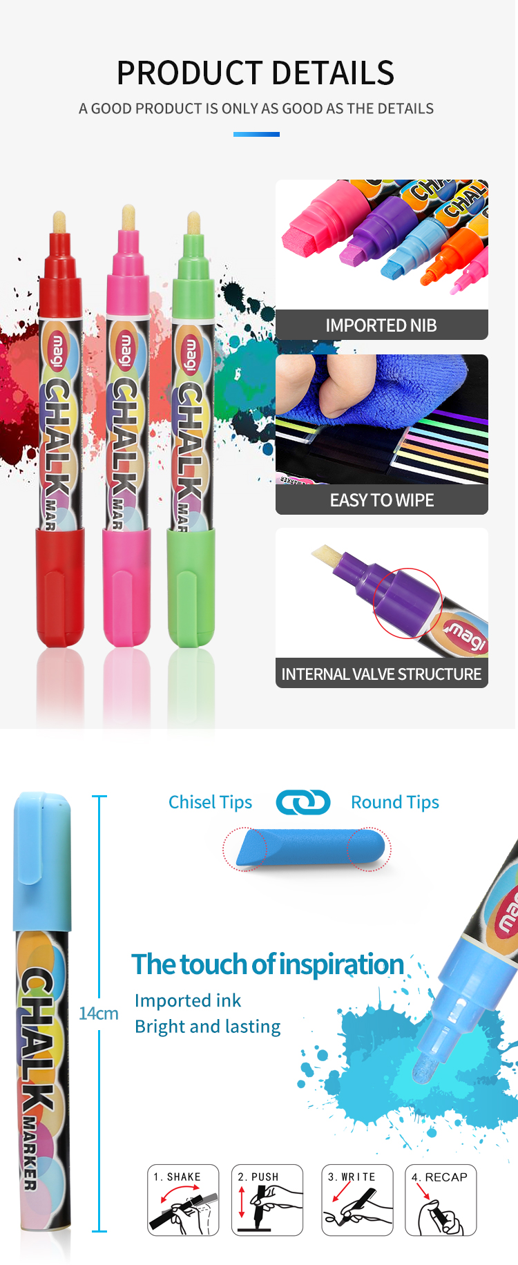 Amazing Ink Erasable Dustless Non-toxic Dual Tip Liquid Chalk Marker Pens
