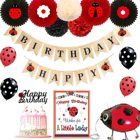 Ladybug Birthday Party Decorations Supplies Kit by Party Happy Birthday Banner Paper Fans with Stickers Tissue Pom Poms