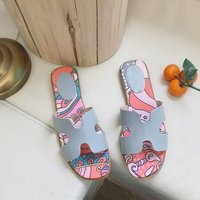 HLS044 printed Rubber ladies H flat sandal slipper beach female casual summer slippers