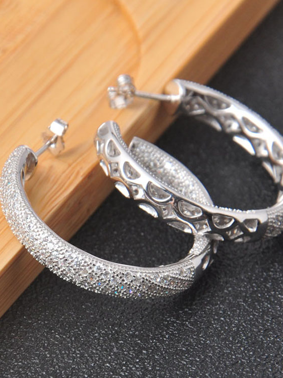 New Arrival Factory Price Micro Pave Stock Jewelry 925 Solid Sterling Silver Hoop Earrings For Ladies