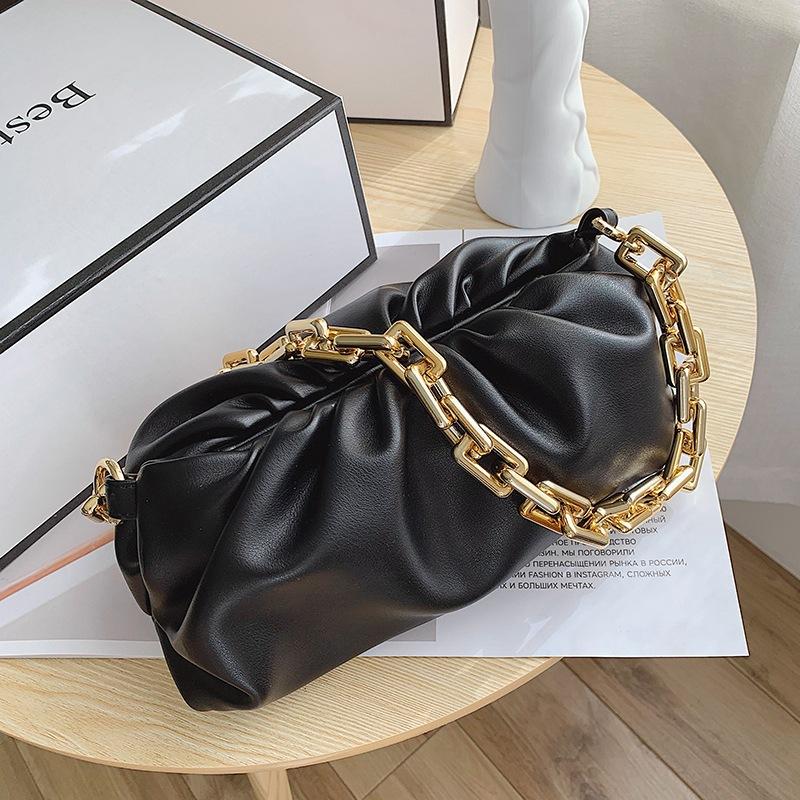 Sac à main en cuir PU pour femmes, chaîne de luxe sous-bras souple, chaîne épaisse, nuage de sacs, dumplings, 2020