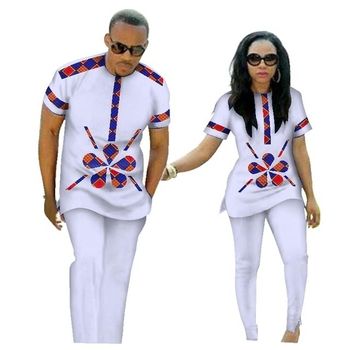 Wholesale Traditional Bazin Riche African Print Patchwork Top and Pants Sets for Couple Clothing Two Pieces Sets Clothes WYQ84