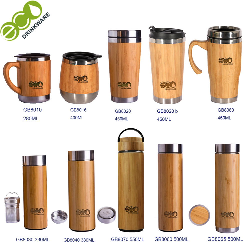 GB8080 450ML/16OZ Natural BPA free no mininum Stainless Steel bamboo tumbler with handle