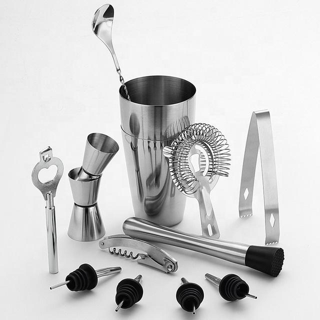 800ML Stainless Steel Cocktail Shaker Bar Set & Double Jigger ,Bottle Opener ,2 Pourers,Bonus Cocktail Recipes Booklet