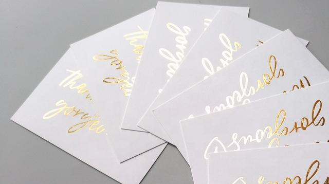 Angepasst Bunte Gedruckt Gold Folie Baumwolle Benutzerdefinierte Papier Buch business Danke karte