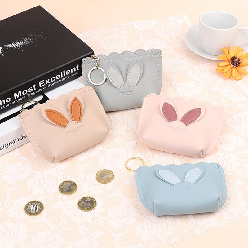 New Cartoon Cute Rabbit ears for Girls Kids Gift PU Leather Zipper Wallets Key Bag Female Coin Purse