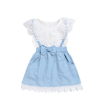Summer new girls explosion models T-shirt tops denim vest skirt  lace dress children's wear