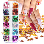 Nail Art 12colors Design Laser Maple Manicure Nail Decorations Holographic Flakes Fall Leaves Sequins Nail Art Glitter
