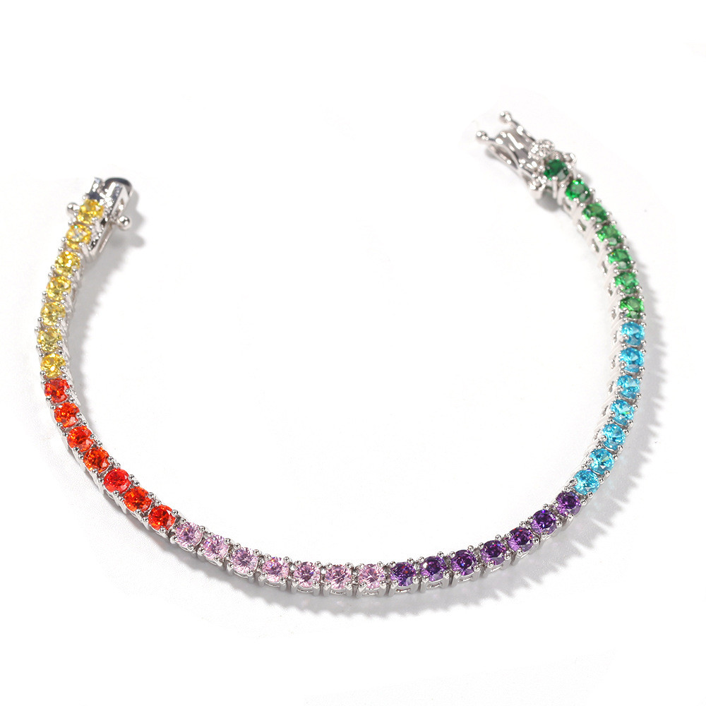 Wholesale 3.5MM Rainbow <strong>Tennis</strong> <strong>Bracelet</strong> Women Fashion Jewelry Multi Color <strong>CZ</strong> <strong>Tennis</strong> <strong>Bracelet</strong>