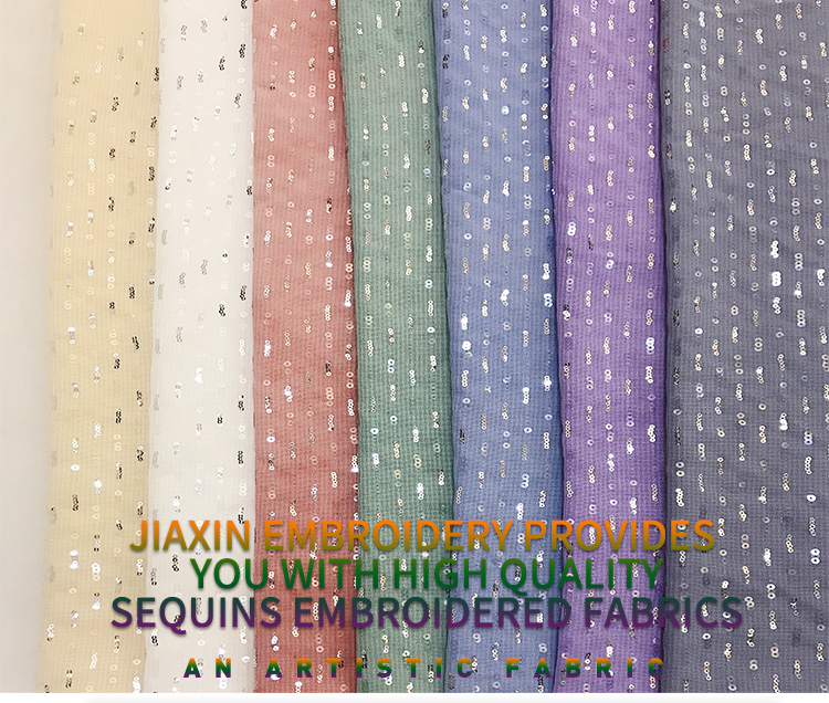 Jiaxin Textile Chiffon imitation dumb linen sequin fabric straight broken chain embroidery wedding dress fabric