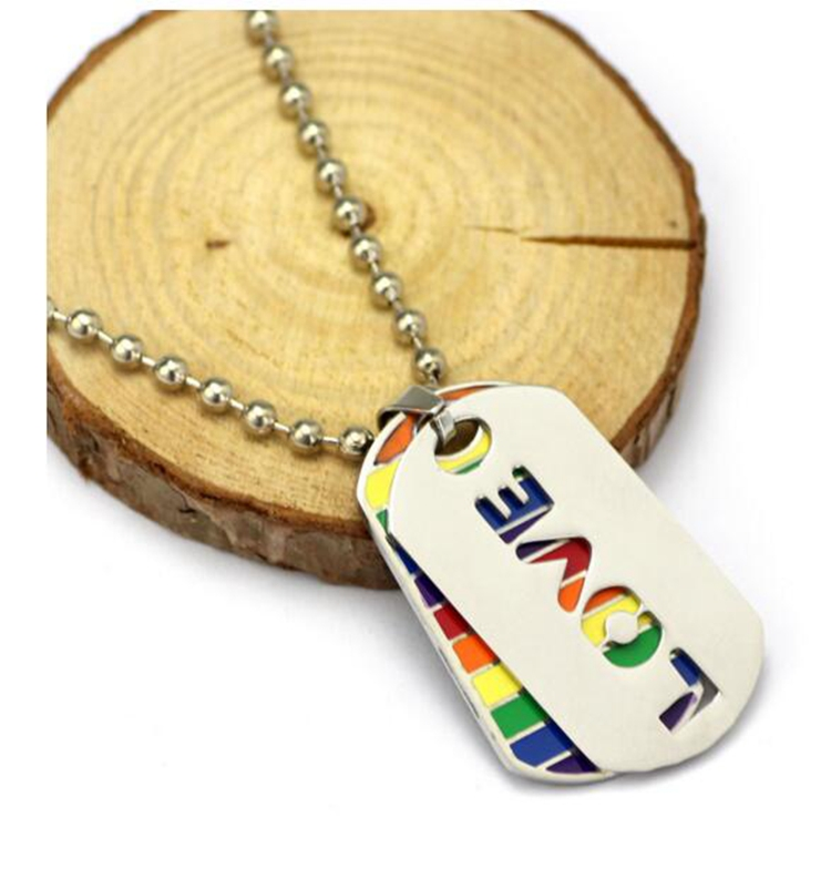 LGBT gay pride stainless steel pendant chain necklace rainbow flag silver rolo chain necklace