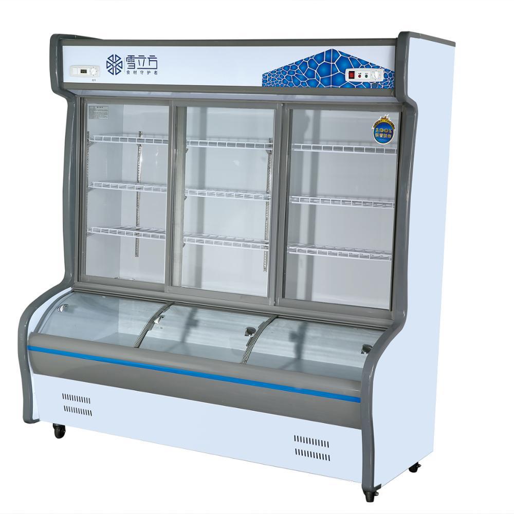 เชิงพาณิชย์ผลไม้และผักตู้แช่แข็งจอแสดงผลซูเปอร์มาร์เก็ตตู้เย็น