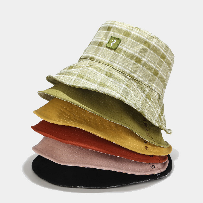 new style Patch Fisherman Hat grid double-faced cheap custom made bucket hats