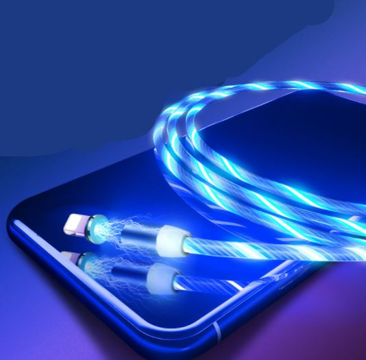 Streamer Magnetic Fast Charging USB Absorption Cables Flowing Light Cell Phone Accessories Cable Led Luminous Non Data Cables