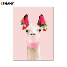 Каваи розовый пузырьковый жвачка, детский плакат для детской картины на холсте, настенная живопись, Скандинавское украшение для детской ко...(Китай)
