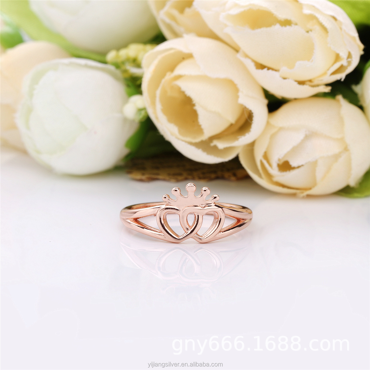 S925 Sterling Silver Ring 2018 New Rose Gold Crown Ring