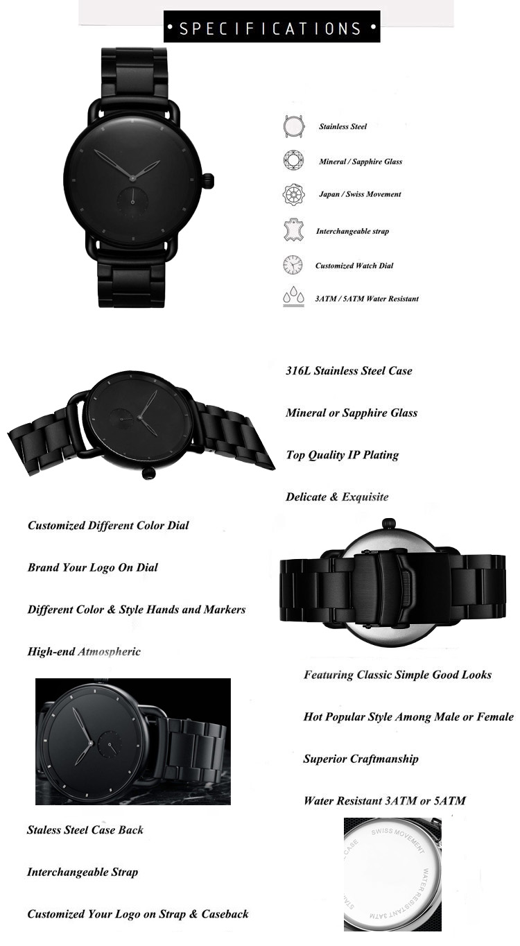 All black japanese movement custom watch,High quality custom minimalist watch, Wholesale hot sale odm watch