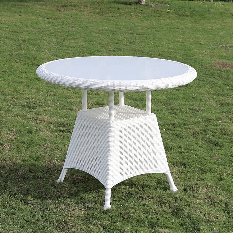 Outdoor Furniture Rattan Cheap Glass Patio Round Garden Coffee <strong>Table</strong>