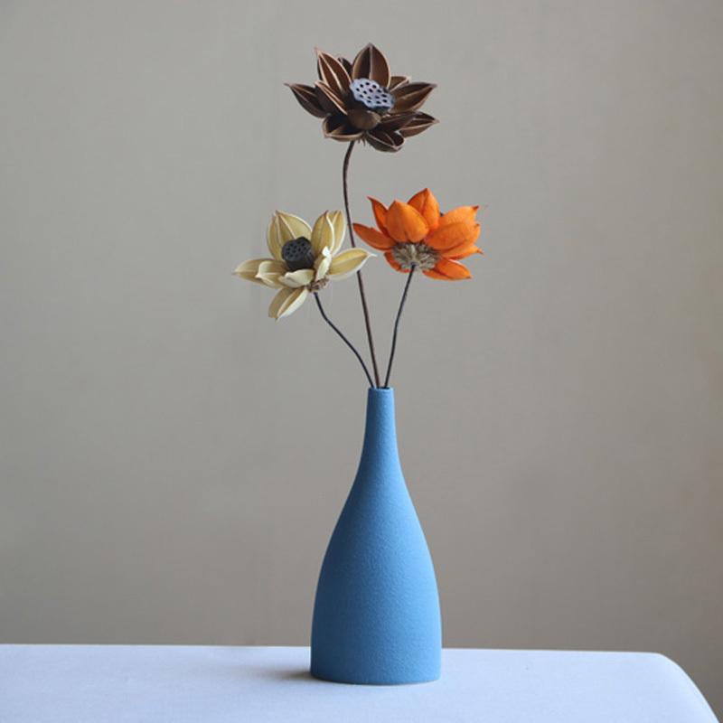 Европа Маленькая ваза шлифованная глазурь керамика Черный Синий Серый вазы цветок искусство и ремесла украшения дома аксессуары современные