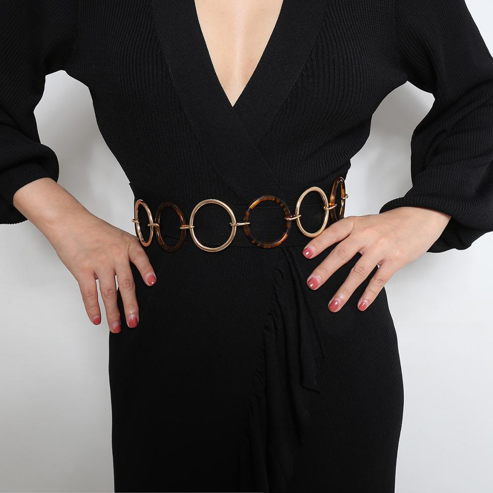 KJ005 Trade Assurance New Simple Geometrical Circle Chain Waist Chain Sexy Resin Metal Body Chain for Women Clothes Accessories