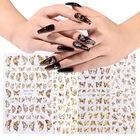Nail Sticker Nail Art Decals New Design 3D Metallic Butterfly Style Nail Art Sticker Butterfly Nail Decals DIY Nail Decoration