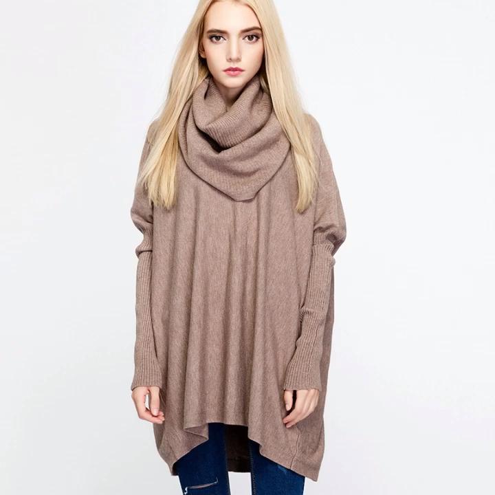 Venta caliente estilo europeo cuello Otoño Invierno suelta de punto de manga larga suéter poncho para las mujeres