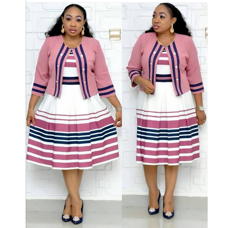 Office Terbaru Memakai Gaun Gaun untuk Wanita Berkualitas Baik Gaya Pakaian Afrika Grosir