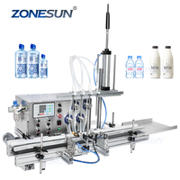 ZONESUN 4 Diving Nozzles Magnetic Pump Automatic Desktop CNC Liquid Water Filler With Conveyor For Perfume Filling Machine