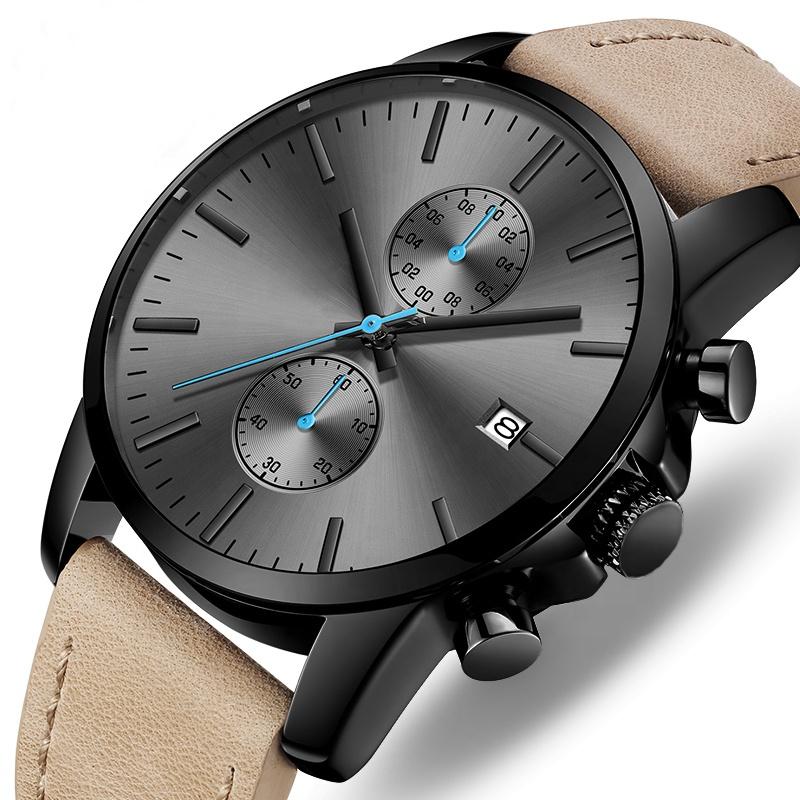 Di alta Qualità di Sport Su Ordinazione Cronografo Impermeabile Marca Il Proprio di Lusso Black Watch Reloj Para Hombre