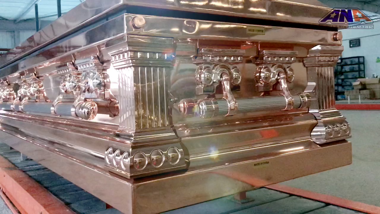 ANA made in china US style Luxury Polished Solid Copper full couch funeral metal casket and coffins