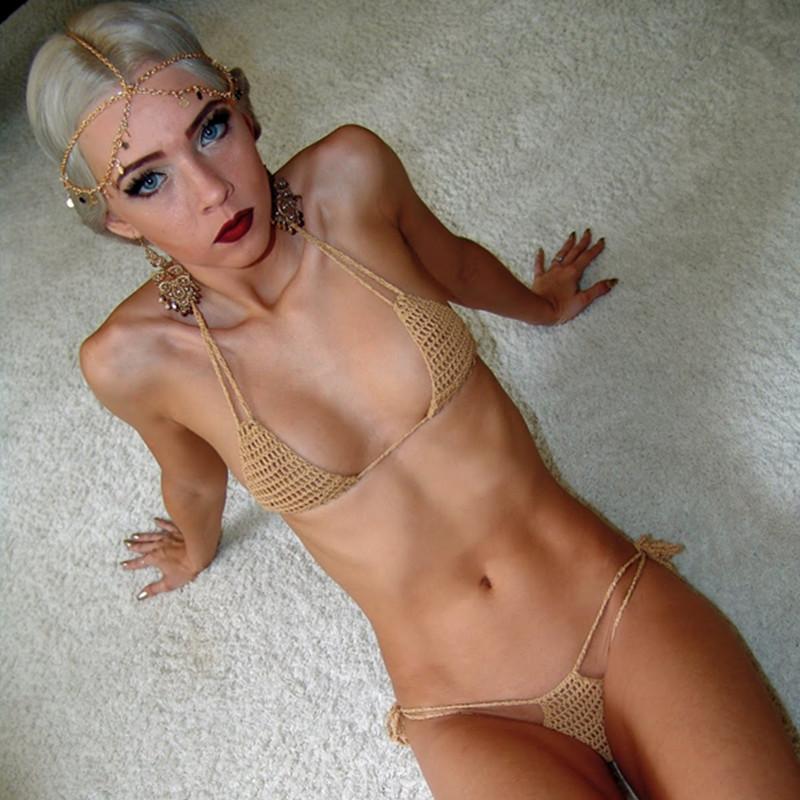 चरम माइक्रो मिनी बिकनी लड़की swimwear के गर्म सेक्स crochet धूप सेंकने बिकनी
