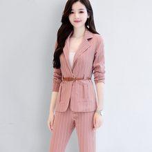 Европейский стиль Женский костюм 2020 новый модный элегантный полосатый Женский блейзер офисный костюм тонкий розовый пиджак длинные брюки ...(Китай)
